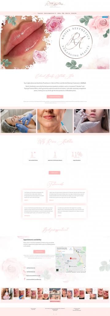 Rosies Aesthetics Website Mockup