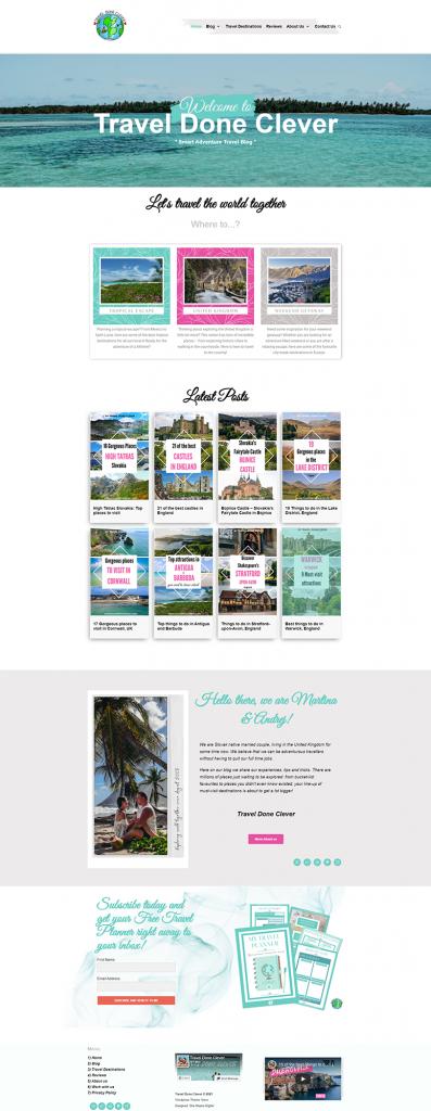 Travel Done Clever Website Mockup
